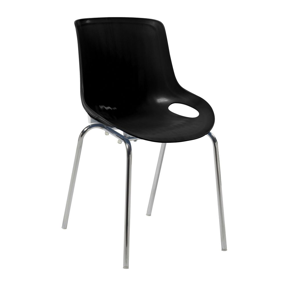 Americano TWO Stylish Lightweight and Stackable Poly Chair with a Chrome Frame in Black
